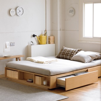 Giường ngủ 2 hộc kéo kết hợp 2 kệ sách