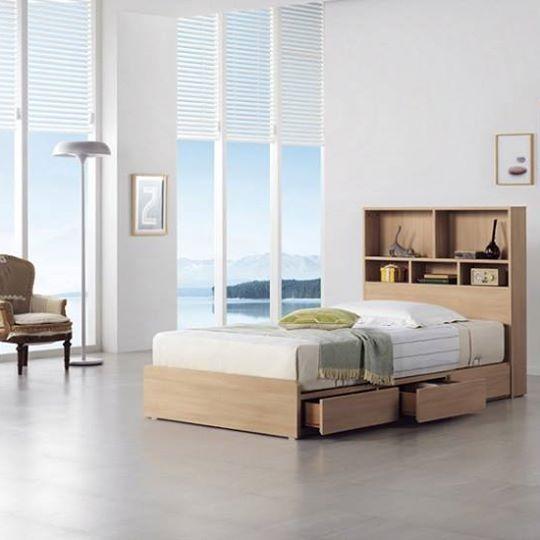 Giường ngủ 3 hộc kéo kết hợp kệ sách đầu giường