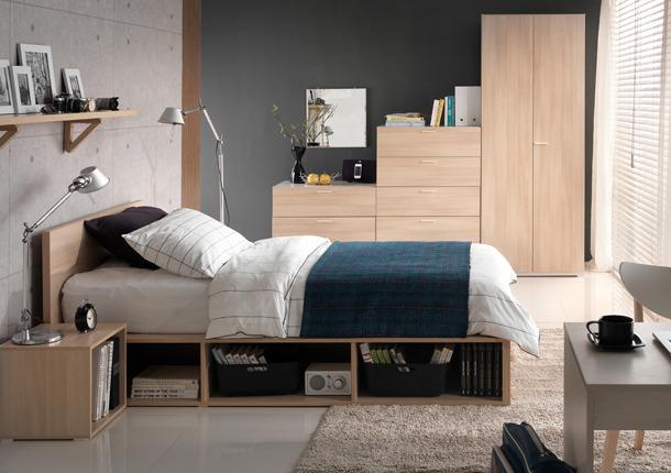 Giường ngủ kết hợp 2 kệ sách